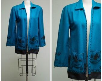 Vintage 1940s Shirt • Desert Memories • Turquoise and Black Wool Felt Late 40s Mexican Tourist Jacket Size Medium