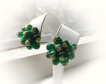Clip On Cluster Dangle Earrings Ball Beaded Baubble Made in Japan Kelly Green 1940's Vintage