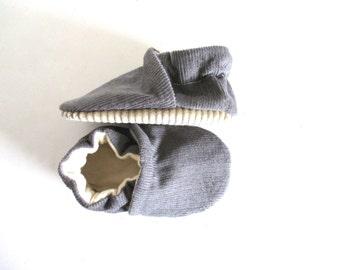 Grey Corduroy Baby Shoes