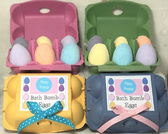 Easter Egg Bath Bombs, Bath Bomb Eggs, Egg Bath Fizzies x6 in coloured egg box.