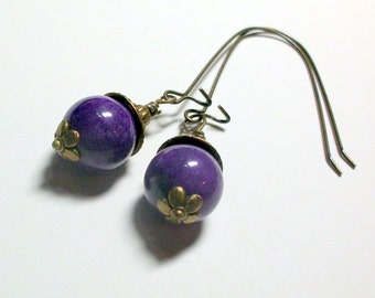 Purple Mountain Jade Long Vintage Style Earrings