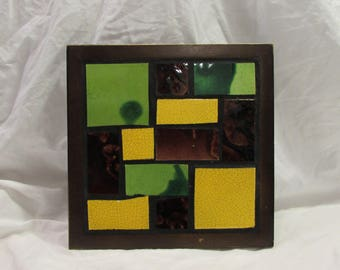 Trivet, Oh-So-1970's!, Square, Wood Frame, Green/Yellow/Brown, Tile, Mosaic Style