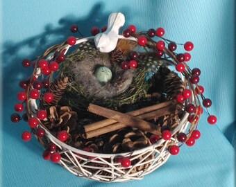 Decorative Bird Nest Floral Arrangement With Red Berries