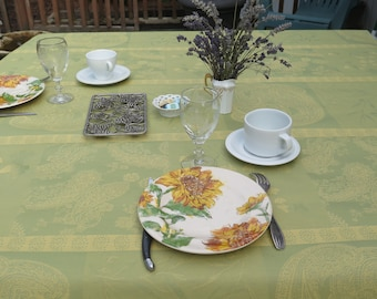 Rectangular tablecloth Jacquard coated Unique product and colorFrench Provence Paisley in geen almond Stain resistant water proof