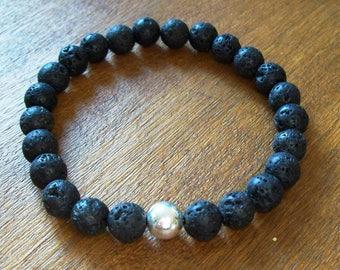 Mens bracelet, Men, Gift, Mens bracelet, Man's bracelet, Lava rock bracelet, Sterling silver bead, Sterling silver bracelet, Beaded bracelet