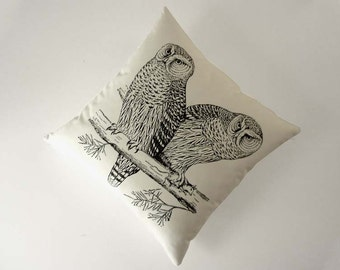 Owls silk screened cotton canvas throw pillow 18 inch black on unbleached