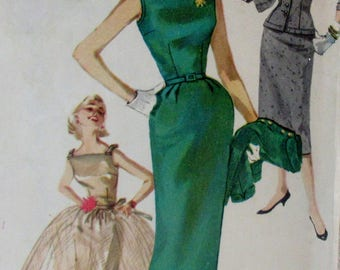 Vintage 1950s Simplicity Junior & Misses Sewing Pattern #1232  One Piece Dress Overskirt and Jacket  Size 12 Bust 30