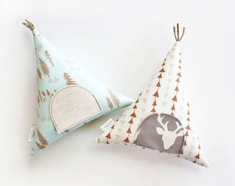 Teepee Tooth Fairy Pillow, Modern Woodland Room Decor, Girls, Boys, Kids Toy Pillow, Children, Stuffed Toy, Keepsake, Tipi
