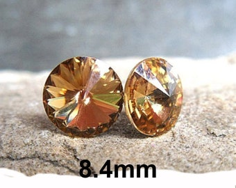 8.4mm Light Colorado Topaz Rivoli Rhinestone Stud Earrings, Light Brown Crystal Studs, Rivoli Pierced Earrings