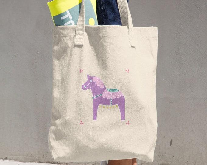 Dala Horse Cotton Tote Bag, Reusable Tote, Reusable Bag, Cloth Bag
