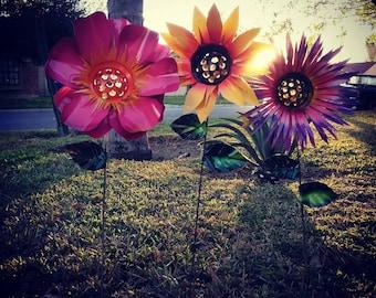 Metal Flower Garden Stake - Metal Garden Art,  Set of 3 - Peony, Sunflower, Chrysanthemum