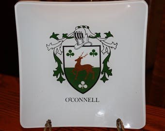 O'CONNELL Family Crest/Coat of Arms Glass Dish