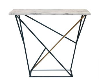 Metal and marble top console
