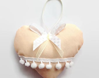 Hanging Heart / Fabric Heart / Stuffed Heart / Shabby Chic Heart /