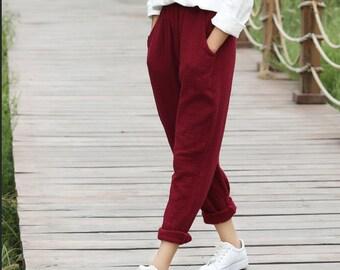 Spring cotton linen casual pants – new cotton and linen women's literature solid color loose waist linen trousers pants