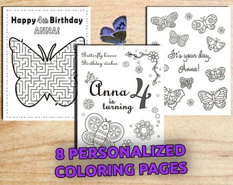 Butterfly Party Activity Coloring Pages / Personalized / Garden party / Printable / Birthday / Digital PDF