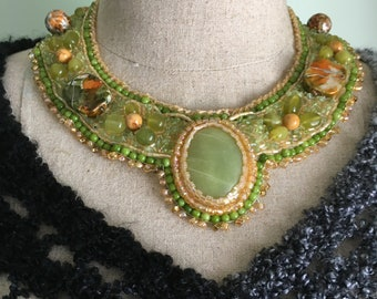 Beaded Collar, Aventurine Cabachon, Bead Embroidered Collar, Peridot Beads, Peridot Chips, Funky Beads, Yellow Seed Beads