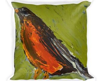 Green Square Decorative Pillow. American Robin Bird Painting Home Decor Pillow