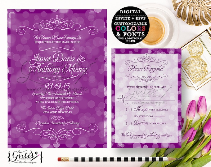 Purple lavender wedding invitation printable, lilac purple white wedding invitations, wedding invite. {Invite + RSVP} You Print!