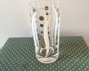 FREE SHIPPING Vintage 1960s White and Gold Abstract Leaf and Dot Mid Century Modern Tumbler