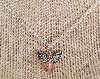 Angel necklace, blush pink, pink crystal, Christmas angel necklace