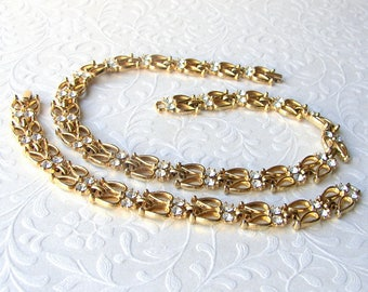 Vintage Parure Rhinestone Necklace Bracelet Matching Set Costume Jewelry Wedding Bridal Formal Pageant Ballroom Prom Leaves Gold Tone