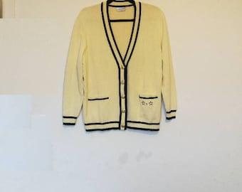 Yellow Vintage Cardigan Knitwear Star Detail Pockets Oversize Cardigan Women's Vintage Sweater Long Sleeve Button Up Knit Cardigan Yellow