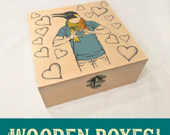 Penguin Love Hipster Wooden Box
