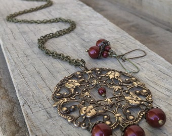 Royal Blood Victorian inspired brass and swarovski crystal pearl earrings and necklace set