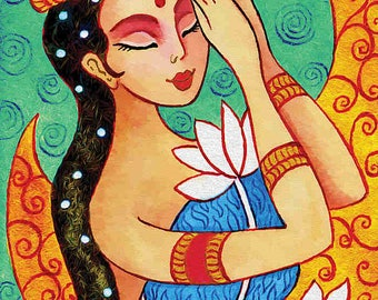 Indian lotus bride art Indian woman painting Indian decor affordable art gifts art giclee, feminine decor, beauty painting print 8x11+