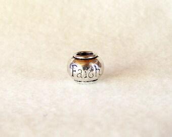 Antique Silver-tone Faith Bead for European Charm Bracelets 8mm x 10mm