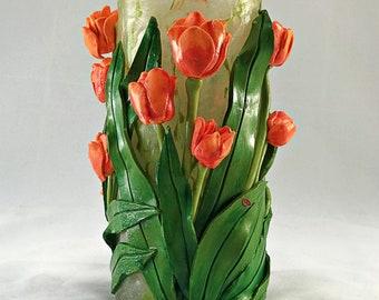 Spring Orange Tulips Grace this Glass Vase – Candle Holder