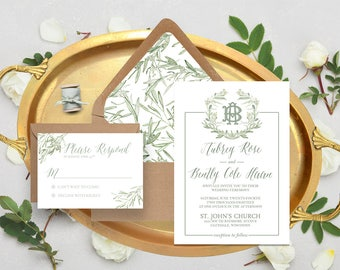 Olive Sprout Watercolor Wedding Invitation Suite - Monogram - Wreath - Greenery - Green - Sage - Solene Suite