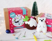 Polar Bear and Pudding Felt Decoration set, decoration set, christmas ornaments, craft kit, felt craft kit, sewing kit, gifts for her, felt