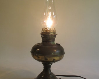 Rayo Oil Lamp, Vintage Antique Electrified Brass Victorian Romantic Dining Decor Cottage Cabin Country Lighting Up-Cycled Light