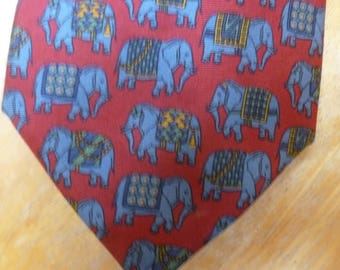 Repeating Elephants silk necktie by Ascot hand made