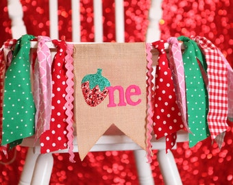 strawberry highchair birthday party banner red green and pink first birthday one summer birthday red glitter burlap strawberry
