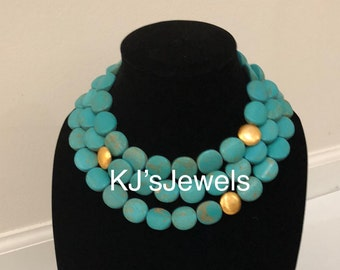 Multi-Strand Turquoise Necklace with Gold Accent Beads