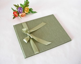 Guestbook unlined - sage cloth with sage satin ribbon - (8x9in 20x23cm) - Ready to ship