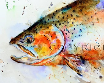 CUTTHROAT TROUT Watercolor Fish Print, Fish Art by Dean Crouser