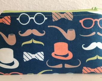 Top Hats and Moustache Zipper Pouch/Gadget Pouch