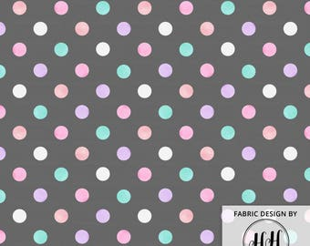 Watercolor Polka Dots Fabric / Pastel Polka Dots Fabric / Quilting Blanket Fabric / Matching Unicorn Gray Print By the Yard & Fat Quarter