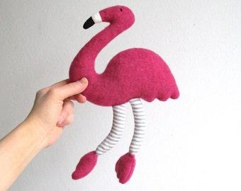 Flamingo stuffed toy, organic flamingo, pink toy, soft flamingo toy, toy bird, plush flamingo, eco-friendly, child gift, fuchsia pink