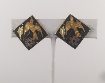 Vintage 1970s Black Square Earrings with Gold Bird and Silver Leaf Accents