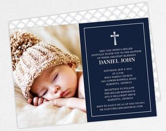 Photo Baptism Invitation, Christening Invitation, Boy Baptism Invitation, Printable Baptism Invitation, Invitation PDF, Modern, Navy, Daniel