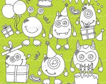80% OFF SALE Birthday monsters digital stamp commercial use, vector graphics, digital stamp, digital images - DS655