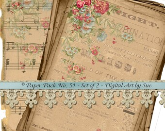 Instant Download  Pretty Paper Pack No. 51 -  2 Gorgeous Papers - Printable Digital Sheets - Download - Crafts, Scrapbooking and More