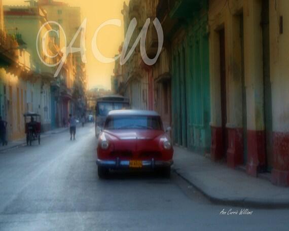 Red Car in Havana, Cuba (canvas)