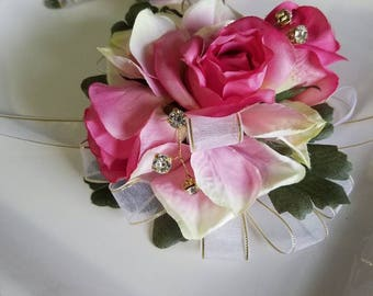 Pink Wrist Corsage With Matching Boutonniere Prom Corsage Prom Flowers Ready to Ship Artificial Flowers