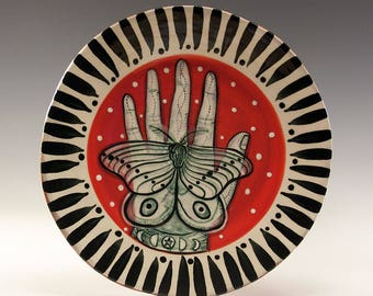 Dessert Plate - Painting by Jenny Mendes on a round ceramic dessert plate - Butterfly in Hand